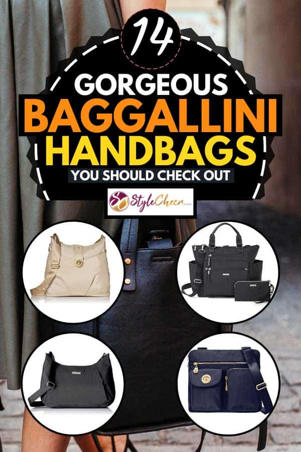 Collage of Baggallini handbags with woman holding a black handbag on the background, 14 Gorgeous Baggallini Handbags You Should Check Out