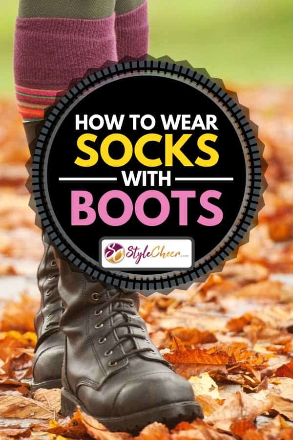 Woman wearing boots with socks walking in autumn, How To Wear Socks With Boots