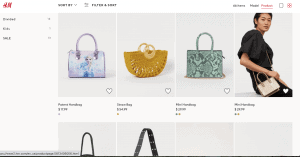 H&M website product page for handbags