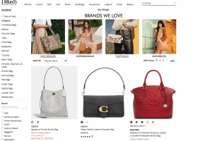 Dillard's website product page for handbags