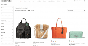Nordstrom website product page for handbags