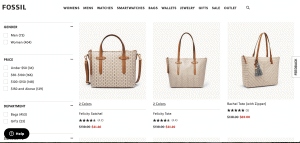 Fossil website product page for handbags