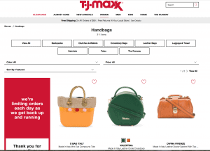 TJ Maxx website product page for handbags