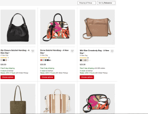Target website product page for handbags