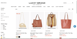 Lucky Brand website product page for handbags