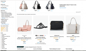 Amazon website product page for handbags