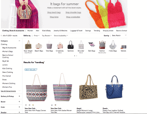 Walmart website product page for handbags