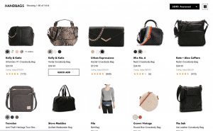 DSW website product page for handbags