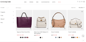 Coach website product page for handbags