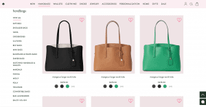 Kate Spade website product page for handbags