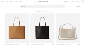 Everlane website product page for handbags