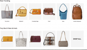 Zappos website product page for handbags