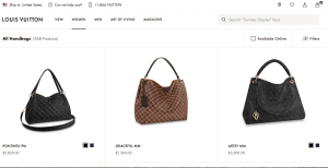 Louis Vuitton website product page for handbags