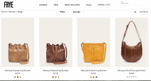 Frye website product page for handbags