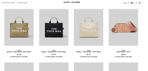 Marc Jacobs website product page for handbags
