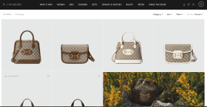 Gucci website product page for handbags