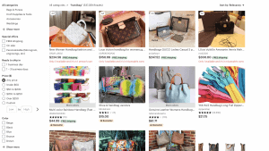 Etsy website product page for handbags