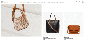 Made well website product page for handbags