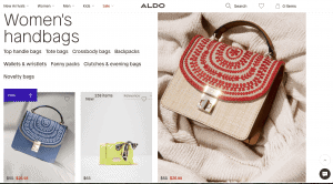 Aldo website product page for handbags