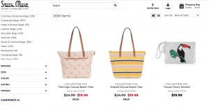 Stein Mart website product page for handbags