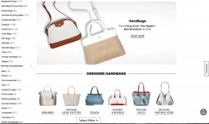 Belk website product page for handbags