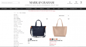 Mark And Graham website product page for handbags