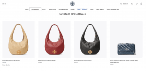 Tory Burch website product page for handbags