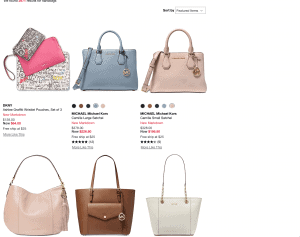 Macy's website product page for handbags
