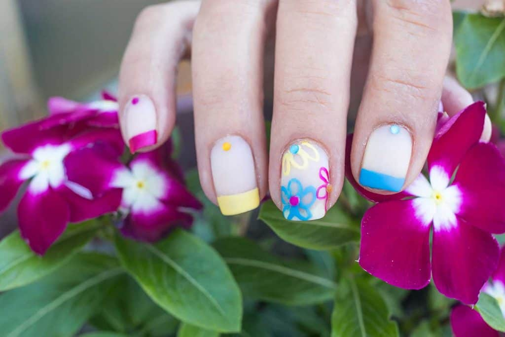 Summer inspired colorful flowers nail art design