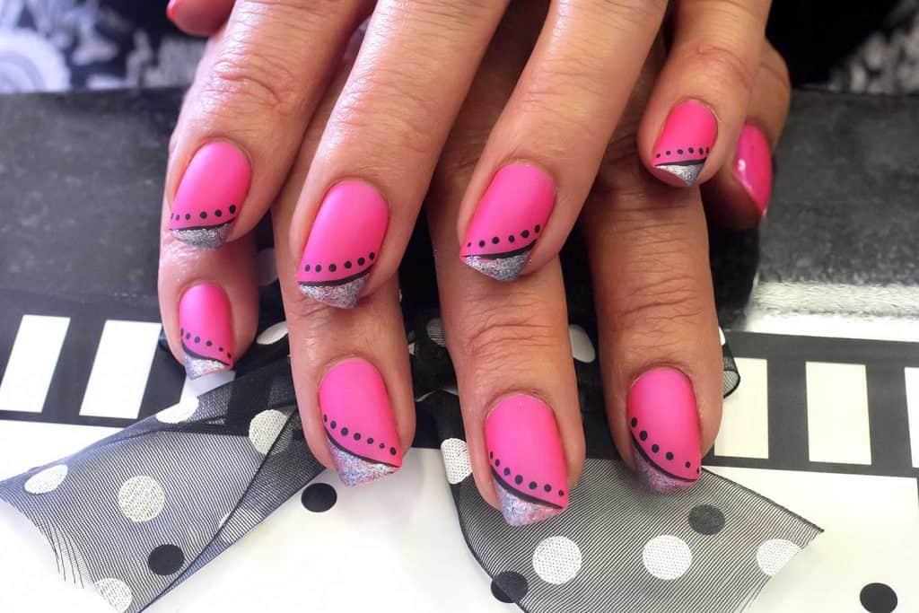 Summer inspired hot pink polka dot nail art design