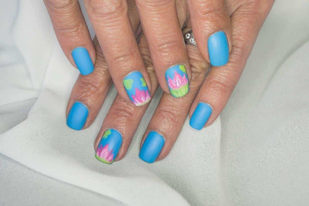 Summer pond inspired art lotus flowers nail art design