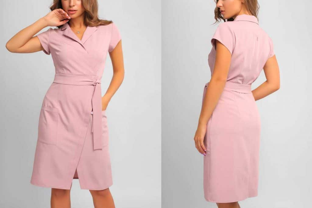 collage of all sides portrait of young woman wearing knee-length pink dress with the wrap, with belt on waist isolated on white background, Can You Wear a Dress To An Interview?