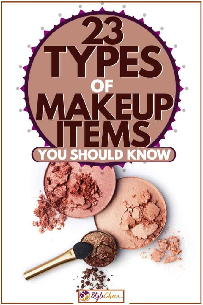 A crushed blush-on and eyeshadow with a brush on the side placed on a white background, 23 Types Of Makeup Items You Should Know