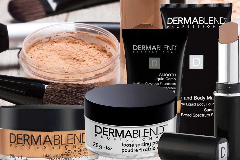 A collage of Dermablend makeup with makeup products and accessories on the background, Is Dermablend Waterproof? [And how to make it last]