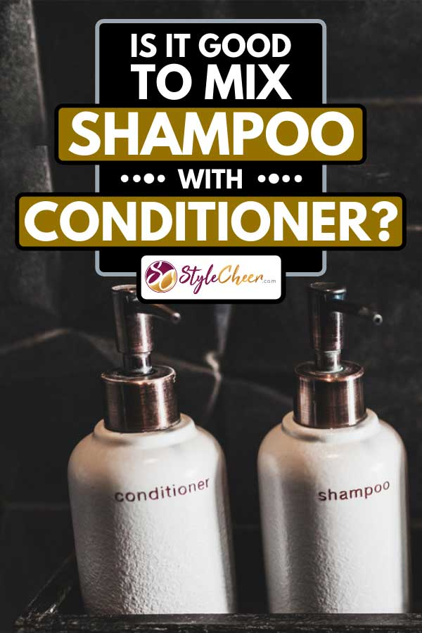 Metal bottles of shampoo and conditioner on wooden shelf, Is It Good To Mix Shampoo With Conditioner?