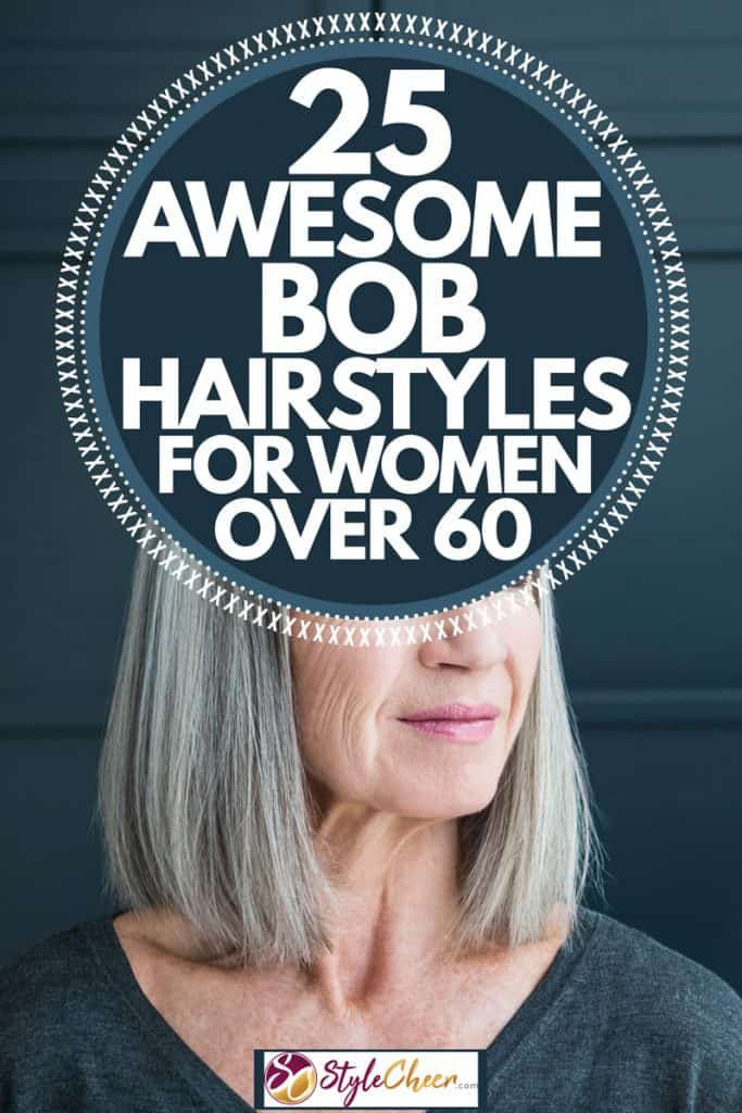 Elderly woman in a gray shirt standing on a black door with a bob hair cut, 25 Awesome Bob Hairstyles for Women Over 60
