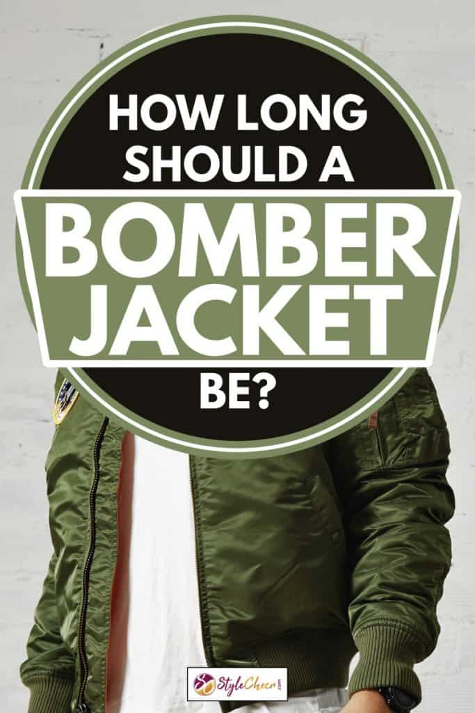 Moto biker wearing green bomber jacket, How Long Should A Bomber Jacket Be?