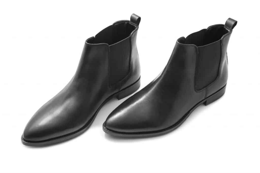 A shiny black Chelsea boots