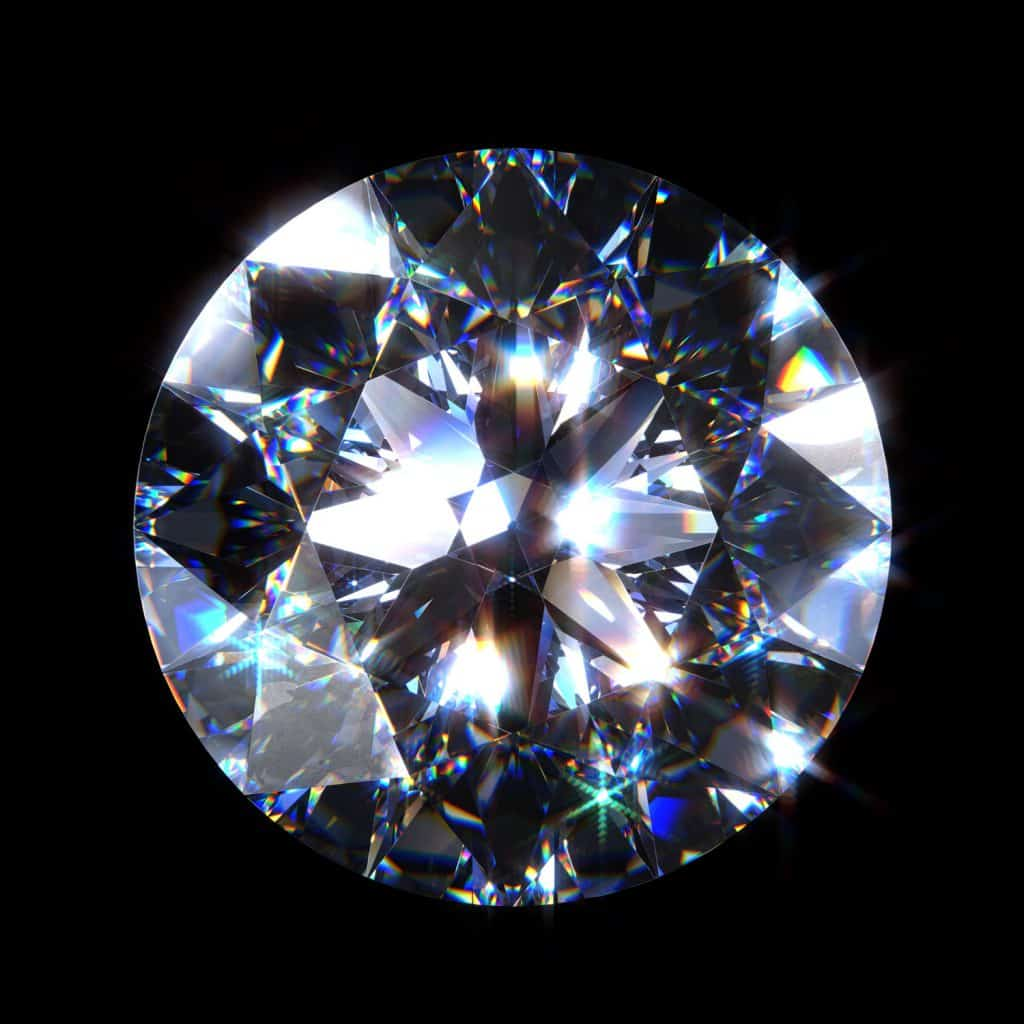 An up close and detailed view of a diamond on a black background