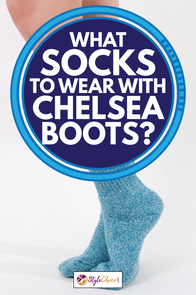 Blue cotton crew socks on beautiful woman's feet. Isolated on white background, What Socks To Wear With Chelsea Boots