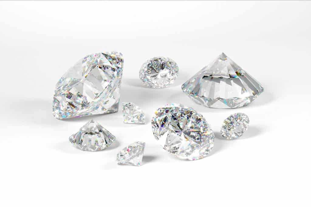Diamond spread on a white background