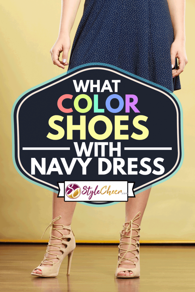 Summer trendy fashionable outfit ideas concept. Woman wearing short navy dress and white striped high heels, What Color Shoes With Navy Dress