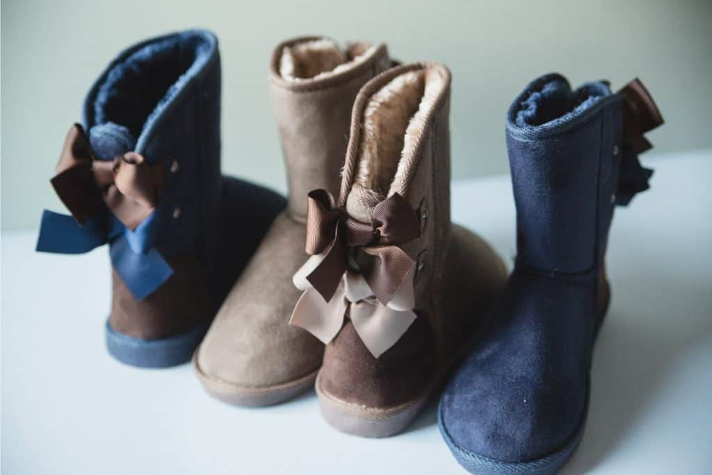 Side and top view of a blue and brown shearling boots, Are Shearling Boots Waterproof
