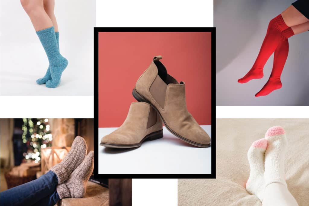 photo collage of a pair of chelsea boots in the middle surrounded by different kinds of socks that can be worn with it