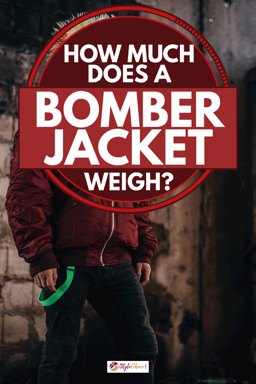 Punk person with yellow Mohawk hairstyle, wearing red bomber jacket, standing in abandoned building alone, How Much Does A Bomber Jacket Weigh?