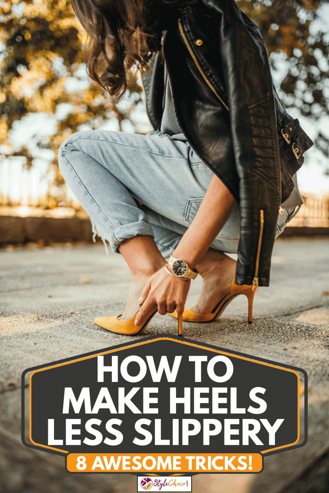 Young woman adjusting her high heel shoes on the pavement, How To Make Heels Less Slippery [8 Awesome Tricks!]