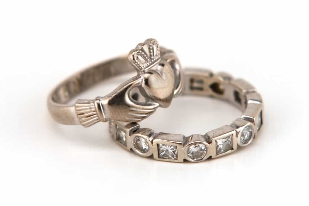 A gorgeous claddagh ring on a white background