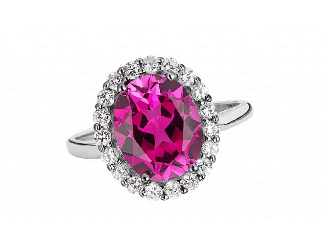Beautiful ring with pink amethyst gem (stone) isolated on white