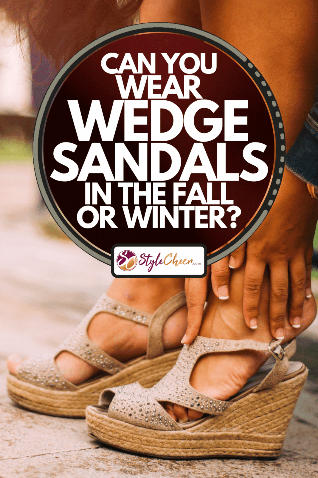 Young woman with wedge sandals sitting on a bench checking her feet, Can You Wear Wedge Sandals In The Fall Or Winter?