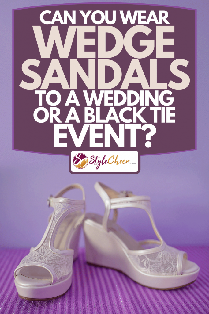White platform wedge pumps set against a purple background, Can You Wear Wedge Sandals To A Wedding Or a Black Tie Event?